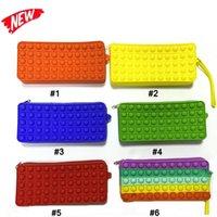 Fidget Toys Wallet Caja de lápiz HandbagPortable DecomPression Pulse IT Bubble Sensory Autism Especial Necesidades Estrés Reliever Juguete para niños Familia