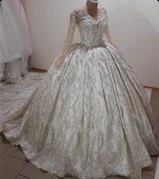 Luxury Ball Gown Wedding Dress 2022 Sheer Neck Beaded Long Sleeve vestido de novia Plus Size Lace Appliqued Bridal Gowns