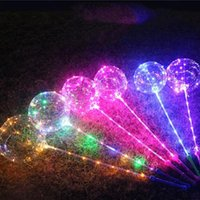 Bobo Ball LED line with Stick handle Wave Ball 3M String Balloons Flashing light Up for Christmas Wedding Birthday Home Party Decor Toys