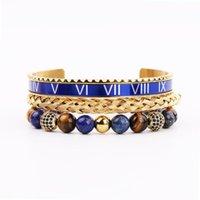 Venta de alta calidad de acero inoxidable azul romano tigre ojo piedra cz bola ajustable bracele brazalete conjunto hombre joyería regalo con cuentas, hebras