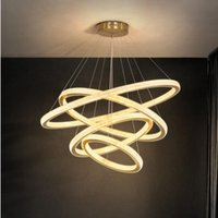Nórdico LED anillo araña iluminación de aluminio simple lustres iluminación moderna villas de lujo sala de estar dormitorio dorado luces colgantes