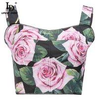 LD Linda della Summer Mode Camis Connect Corset Femmes Fashion Runway Sexy Spaghetti Strap Rose Flower Print Short Bustier 210325