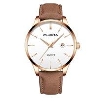 손목 시계 남성용 비즈니스 라스 벨트 시계 3 눈 6 조각 캘린더 쿼츠 스포츠 아날로그 시계 man50