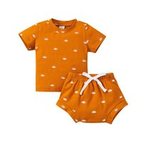 Clothing Sets 0-3Y Infant Kids Baby Boy Girl Short Sleeve Sun Print Cotton T-shirt Tops Shorts Bottom 2PCS Summer Clothes Set