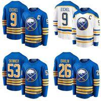 "2021 Buffalo Sabers Хоккей Джерси 9 Джек Эйчел Джерси Хоккей 26 Расмус Дахлин 53 Джефф Скиннер 50th Home Royal Ретро ""НХЛ"""