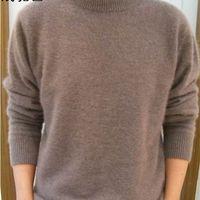 Lafarvie Off Vendita Standard Solido Pullover Full Maniche O-Collo 100% Mink Cashmere Maglioni Autunno Inverno Uomo Casual Knit Jumper 210820