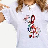 Music Music Womens Tops Notas Camisas De Moda Gráfica Tee Casual Família Olhar Ropa Estética Manga Curta Verão Top Crewneck Edgy
