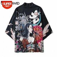 Japonais Samurai Girl Fleurs Print Kimono Cardigan Shirts Streetwear Hip Hop Hop Casual Open Front Manteau Summer Veste Tops # R68i