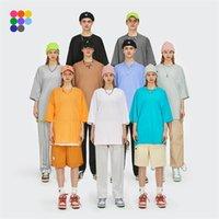 Инфляция Летнее Новый стиль Унисекс повседневная простые футболки с круглым вырезом хлопок негабаритные тройники мужчины мода хип-хоп футболки 0057S21 210324