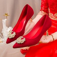 Dress Shoes Nice Red High Heels For Women Vogueable Pointed Pumps Stilettos Champagne Color Bridal Applique Wedding Tacones Mujer