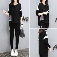Athletic Wear Autumn 2021 fashion short sleeve sweater small leg pants 2-piece set loose and slim casual sports suit for women