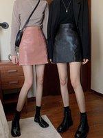 Skirts Spring Summer Black Skirt 2021 Korean Fashion Style Sheath Retro PU Leather High Waist A Line Vintage Harajuku Mini