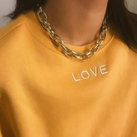 OF-LILU Punk Exaggerated Heavy Metal Big Thick Chain Choker Necklace Women Goth Fashion Hip Hop Jewelry Female Chocker Collier Chains