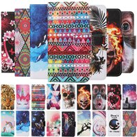 Flip Leather Wallet Cases for iphone 12 pro Max mini 11 X XR XS 6 7 8 PLUS Painted Marble cat Mandala Skull Butterfly Holder cover