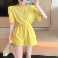 Women's Tracksuits summer casual female cotton sets two short sleeve pieces t-shirts and -waisted pants solid outfits training HAYN