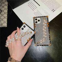 Luxo Design Pérola Pulseira Quadrado Glitter Glitter para iPhone 12 Mini 11 Pro Max XR XS 8 Plus Pulso de Telefone de Sparkle Sparkle