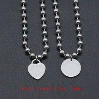 Logo Luxus Herz Halsketten Frauen Edelstahl Runde Anhänger Schmuck am Hals Valentinstag Paar Geschenke für Freundin Zubehör Großhandel