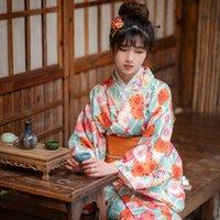 Ethnische Kleidung Kimono für Frauen Japanisch Traditionelle Yukata Sakura Blumendruck Kawaii Robe Japan Feuerwerk Display Streetwear Blue Orange