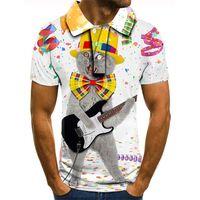 3D 인쇄 남성용 T 셔츠 폴로 바위 고양이 성격 시각적 임팩트 파티 셔츠 펑크 라운드 목 고품질 미국 근육 스타일 반팔 원인 여가