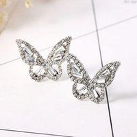 Retro Temperament Stud Earring Female Simple Diamond Butterfly Pattern Earrings