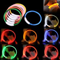 Dog Collars & Leashes Est Led Pet Collar Rechargeable Tube Flashing Night Luminous Safety Puppy Cat Light Pets Accessories