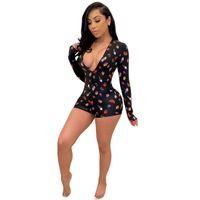 Designer Mulheres Jumpsuits Macacões Sexy profundo V Neck Plus Size Bandana Pijamas Mulheresie Onesie Moda S-2XL