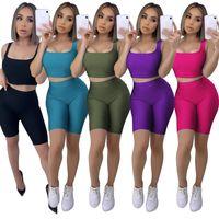 Hot selling New product 2021 fashion leisure Yoga Two-piece sets women sports suit sleeveless vest shorts fitness Yoga Pants summer gym set