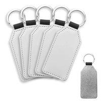 Chaveiros 10 Pack Sublimação Blanks Keychain Glitter Pu Couro DIY Transferência de Calor Keyring
