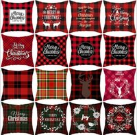 2021 Noel Yastık Kapakları Kırmızı Ekose Elk Atmak Yastık Kılıfı Kare Kanepe Yastık Kılıfı Ekose Baskı Kanepe Yastık Kapak Noel Dekor