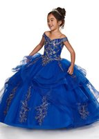 2021 Royal Blue Peach Girls Pageant Dresses Off Shoulder Gold Lace Embroidery Beaded Flower Girl Dress Kids Wear Birthday Communion Gowns