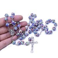 Rosary Color Soft Pottery Pärlor Kors Rosary Halsband Kyrka Tillbehör