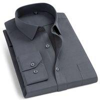 Men's Fashion Long Sleeve Basic Dress Shirts Single Patch Pocket Formal Business Standard-fit Work Office Plaid striped Shirt 210925