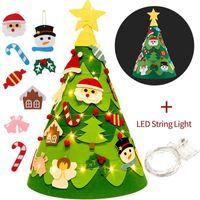 شعرت اليدوية diy شجرة عيد الميلاد مع أضواء سلسلة زخرفة عيد الميلاد قلادة جو احتفالي قوي