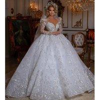 Princess White Lace Appliques Wedding Ball Gowns Sheer Neck Chapel Train Long Sleeves Plus Size Dubai Luxurious Bridal Party Dresses vestido de novia