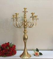 Altın 5 Kafaları 3 Arms Candelabra Mumluklar Masa Düğün Centerpieces Parti Olay Şamdan Ev Dekorasyon Deniz Gemi GWB9040