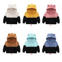 Winter Kids Velvet Sweatshirts Patchwork Hoodies Sweater Cute Casual Plush Baby Pullover Jacket M3813