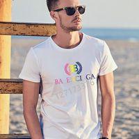Летний роскошный дизайнер мужчин женщин футболки 3DBalencaiga Crew шеи с коротким рукавом дышащая морщина уклоняющаяся уплотнение хлопчатобумажной печати, аппликация письма мода черный