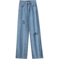Women's Jeans Women Chic Fashion Pearl Ripped Hole Wide Leg Vintage High Waist Zipper Denim Pants Female Stright Trousers