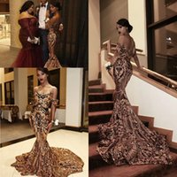 2018 New Luxury Gold black Prom Dresses Mermaid off shoulder Sexy African Prom Gowns Vestidos Special Occasion Dresses Evening We
