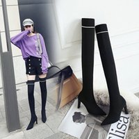 العلامة التجارية الصوفية جورب الأحذية امرأة ضئيلة الساق المدخنة بوتاس طويل الفخذ عالي البوتينات الشتاء تمتد بوتا الأنثوية رقيقة عالية الكعب حذاء ركوب الأحذية رخيصة sh i37h #
