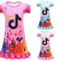 Tiktok Girls Tutu Tutu Vestidos de bebé Dibujos animados Faldas de manga corta Verano Princesa de los niños Linda niña niño vestido camisón ropa G34vuce