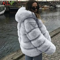 Women Jacket Vintage Hooded Fluffy Faux Fur Coat Short Furry Winter Warm Outerwear Coat 2019 Autumn Casual Party Overcoat 19Aug Y0909
