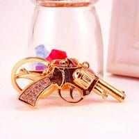 Novelty Weapon Gun Keychain Pendant Carkey Chain Keys Holders Key Ring For Men'S Gifts 10.7*7CM