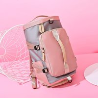 Color contrast nylon cloth fitness bag travel luggage multi function Travel Bag Fashion Sports Backpack