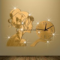 Stereo Girl Mirror Wall Clock Study Bedroom Living Room Background Ackle Silent Decor Stickers Clocks