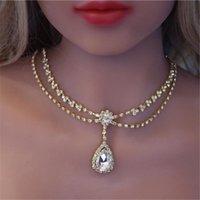 Padrão simples moda requintado água gota zircon nobre princesa colar mulheres brilhando cristal gargantilha coruquê