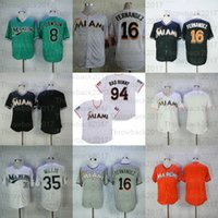 Miami Florida Vintage Baseball Jerseys 16 Jose Fernandez 94 Bad Bunny avec drapeau Porto Rica 35 Dontrelle Willis Andre Marlins