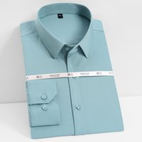 망 클래식 긴 소매 스트레치 솔리드 기본 드레스 셔츠 포켓이 적은 디자인 표준 적합 공식 사업 손쉬운 케어 탑스 셔츠