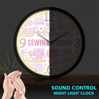 Quilting Sewing Wall Clock With LED Illumination Studio Smart Sound Activated Watch Crafting Supplies Room Decor Clocks
