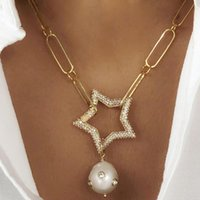 Pendant Necklaces Pendants Fashion Arcoiris Collares Largos Star Pave Zircon Spiral Buckle Carabiner Baroque Freshwater Pearl For Women